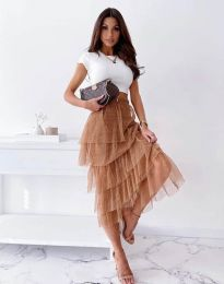 Ефирна дамска пола в кафяво - код 11730