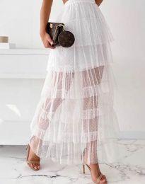 Ефирна дамска пола в бяло - код 11730