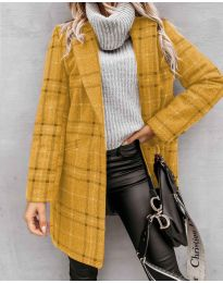 Woman coat - kod 6333 - mustard