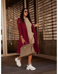 Woman coat - kod 7555 - bordeaux