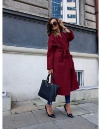 Woman coat - kod 9099 - bordeaux