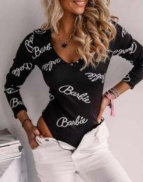 Дамско боди в черно с надписи - код 4405